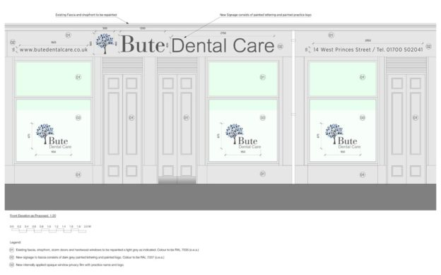 Proposed elevation of Bute Dental Care, Rothesay, Scotland